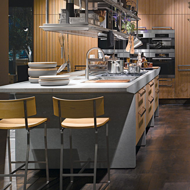Modern kitchen with metal countertop