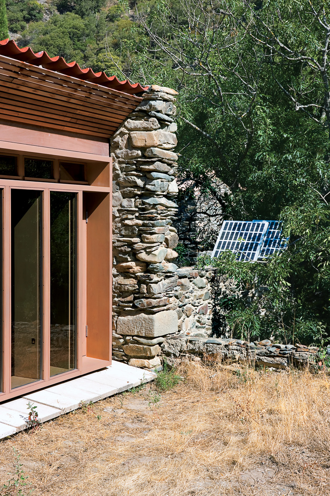 Photovoltaic solar panels by backyard