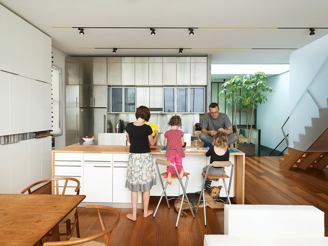 Modern kitchen with beechwood countertop