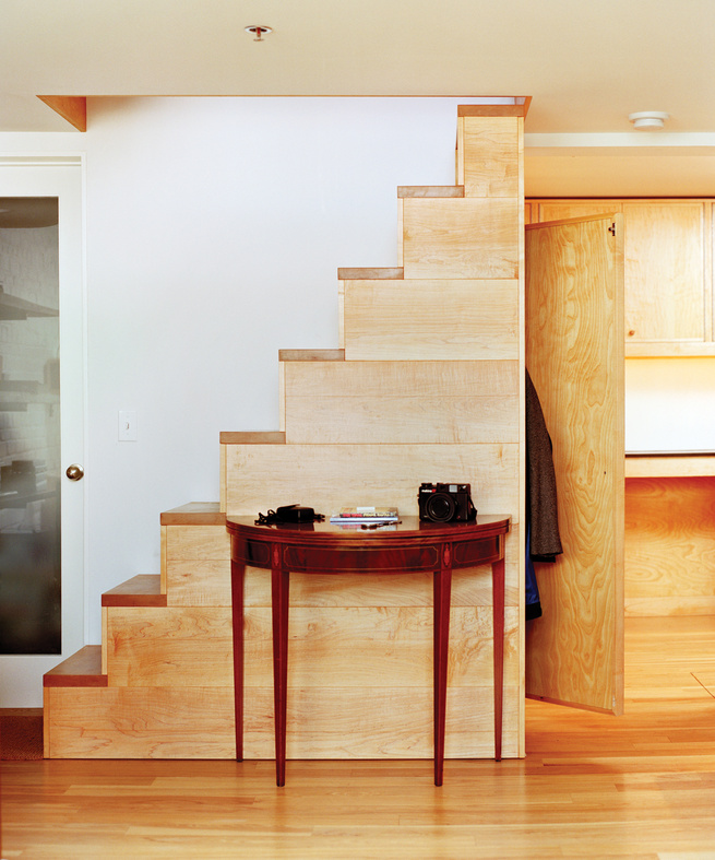 Custom-crafted freestanding wood staircase by Eric Wolf