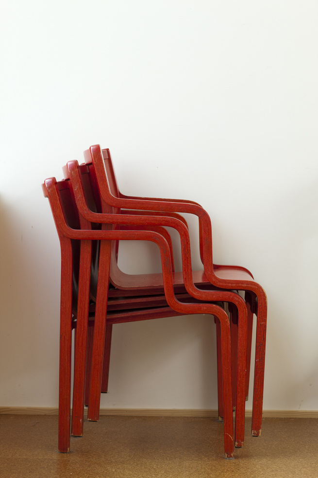 Thrifted Stendig red curved chairs