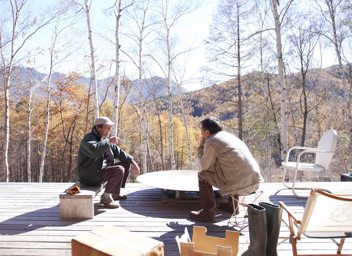 Modern deck with fireplace and the view of the Chichibu mountain range
