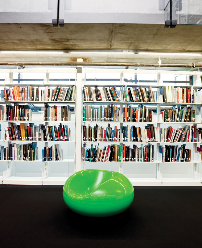 Knowlton Hall library with Eero Aarnio Pastil chair