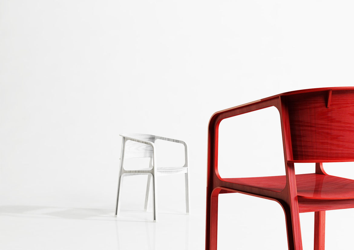 Modern red and white chairs by Tsuo-Ning Hu and Yu-Chih Chang