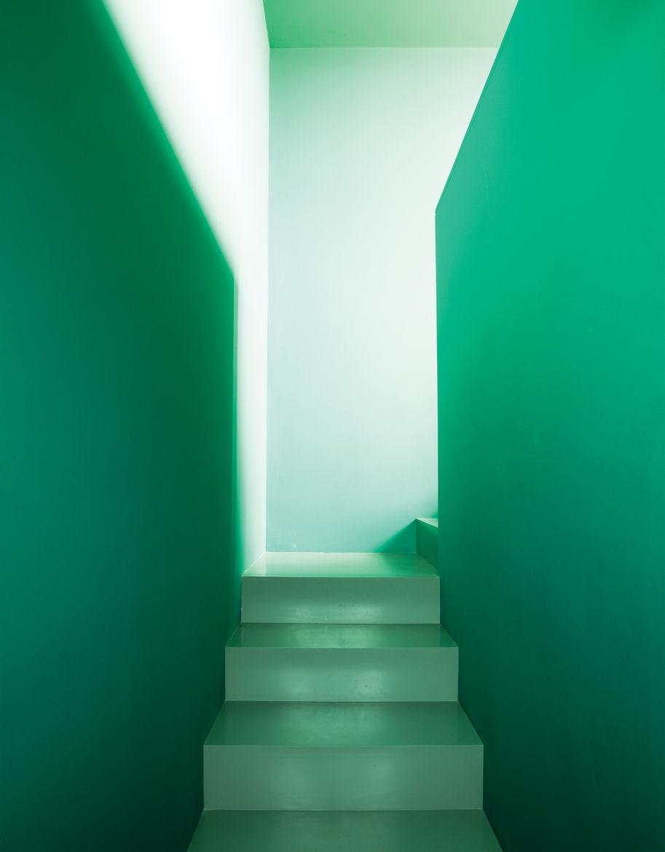 Green narrow staircase