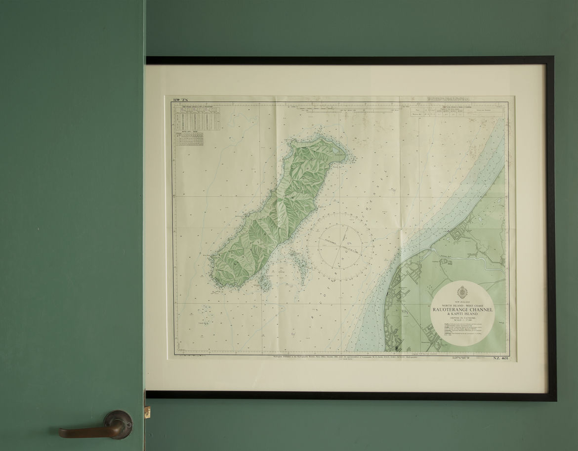 Framed topographic map of Kapiti Island