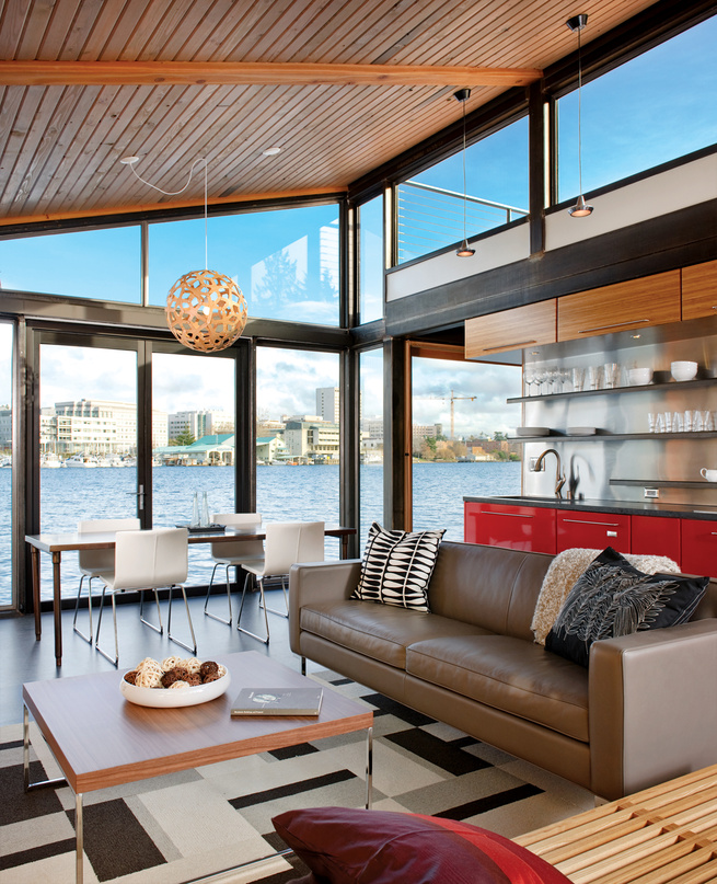 floating home living room renovation in Seattle, Washington