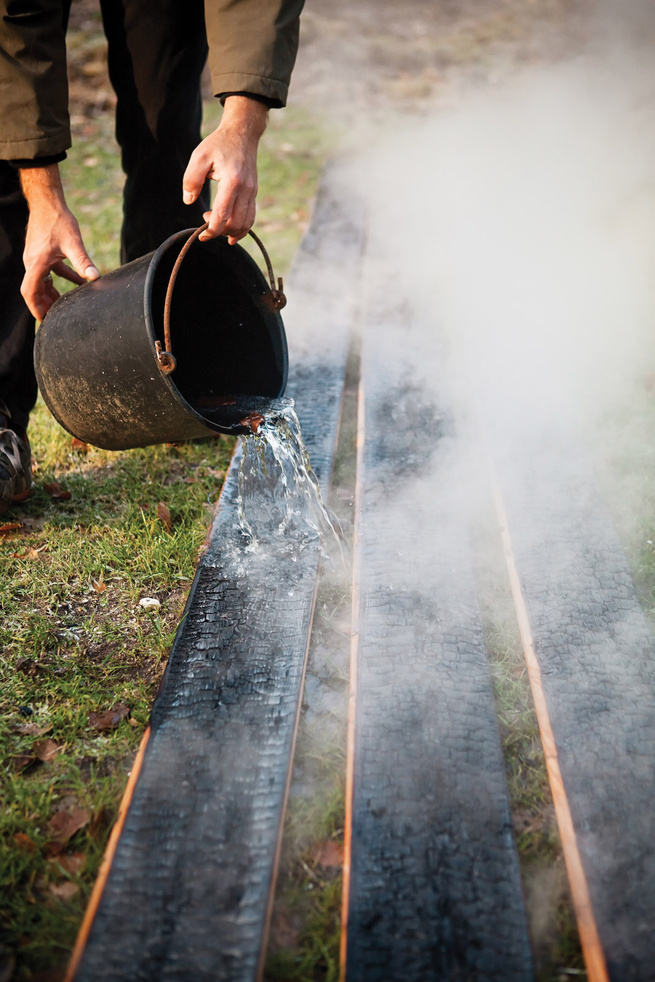 Wood charring traditional Japanese technique