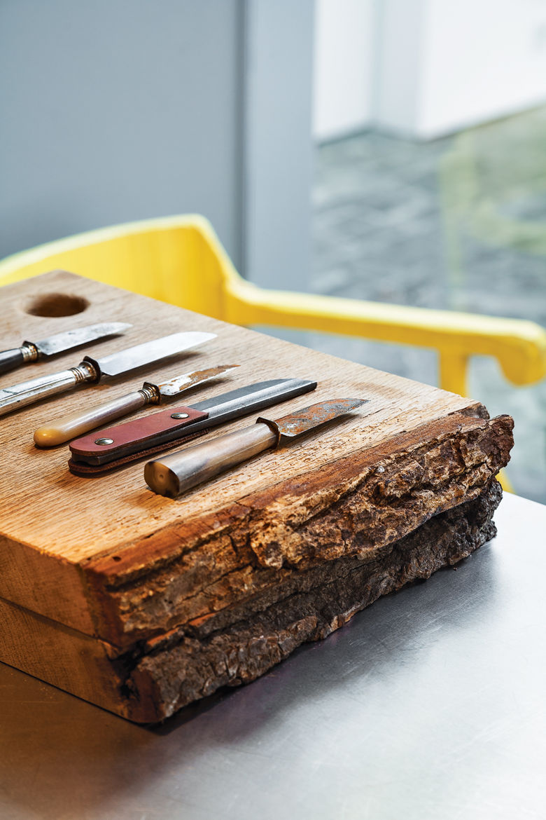 Wooden cutting boards and knives