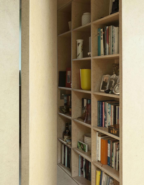 Medium density fiberboard bookshelves