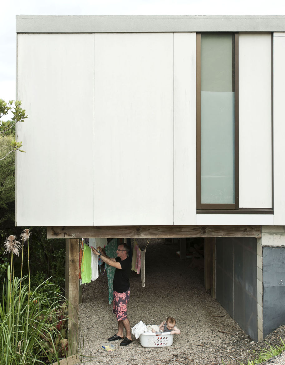 Modern home with outdoor clothing rack