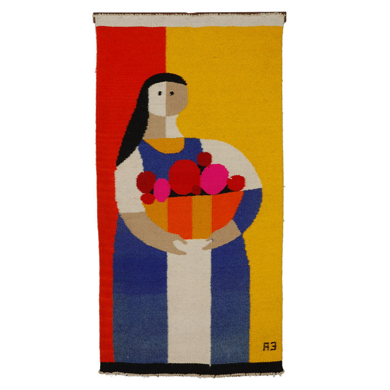 """Tapestry by Evelyn Ackerman<br /><br /> U.S.A., 1962<br /><br />  """"Evelyn Ackerman and her husband Jerry were important exponents of the post-war Southern California design scene. Evelyn's work was largely figurative, while Jerry's was more usually abstra"""