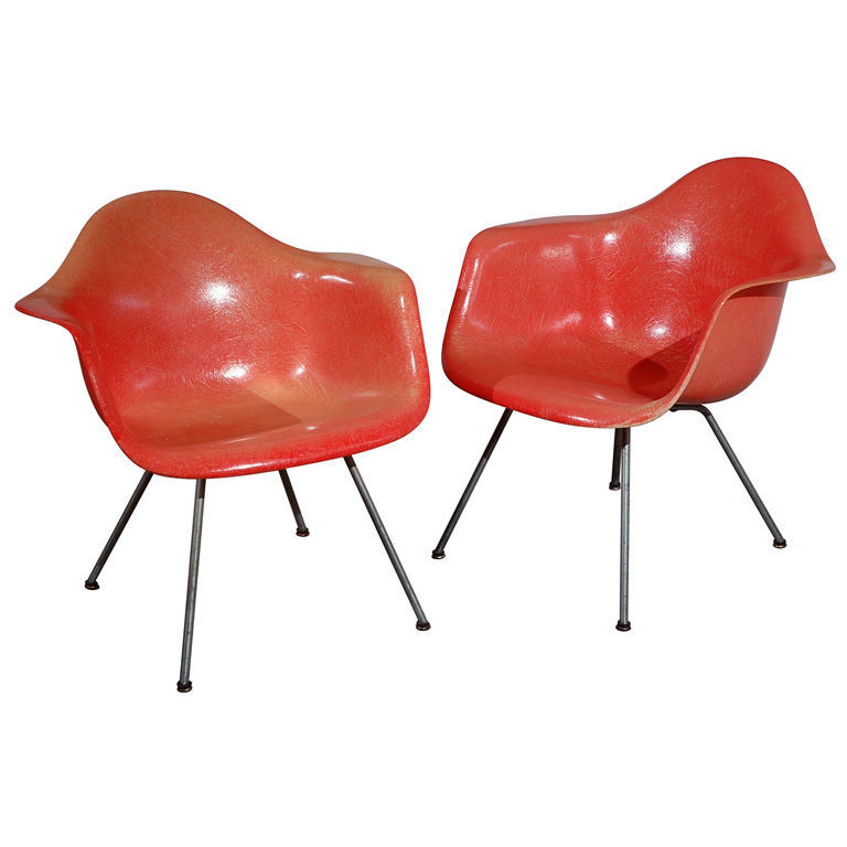 """Very Early Charles Eames """"LAX"""" Lounge Chairs<br /><br /> U.S.A., 1950<br /><br /> """"These Eames fibreglass lounge chairs are from the very first year of production, 1950. They are distinguished by their hand-made """"rope-edge"""" Zenith shells and early lounge-"""