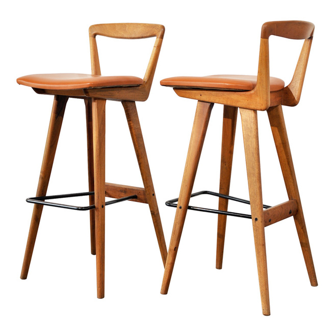 """Pair of Bar Stools by Henry Rosengren Hansen<br /><br /> Denmark, 1950s<br /><br /> """"These Danish bar stools, designed by Henry Rosengren Hansen for Brande Møbelfabrik, incorporate some really cool forms, with great craftsmanship and attention to detail."""