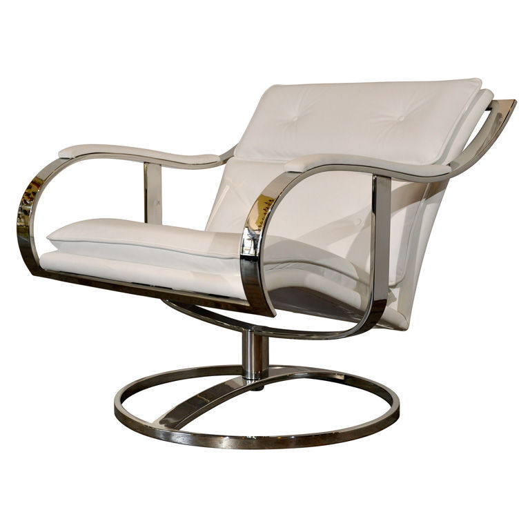 "Warren Platner Lounge Chair<br /><br /> U.S.A., late 1970s<br /><br />  ""Designed by Warren Platner for Steelcase, this swivel lounge chair is as luxurious as it is substantial. There were a few versions of this basic design produced: this is the rarely s"
