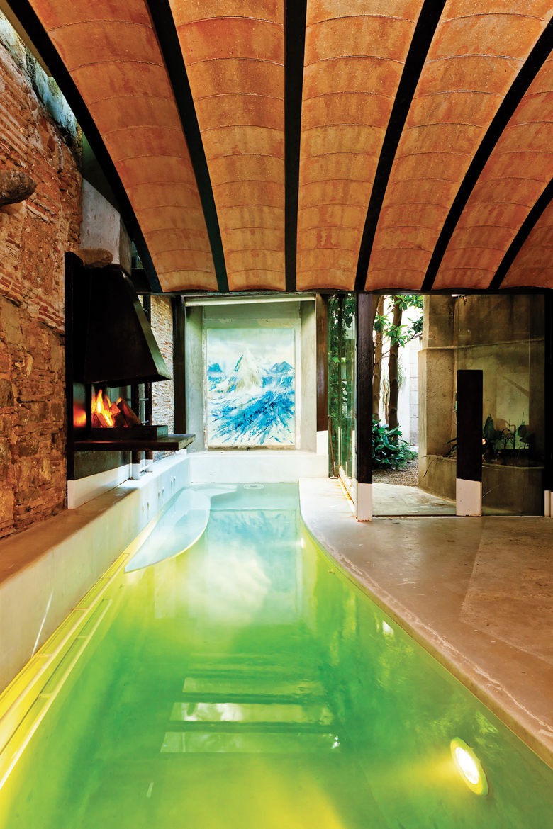 Ambient pool house with barrel ceiling