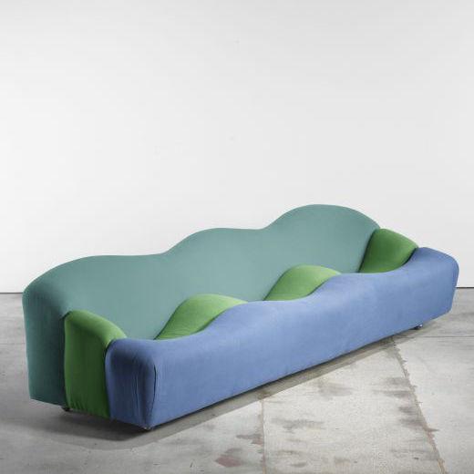 Vintage three piece sofa blue, green.