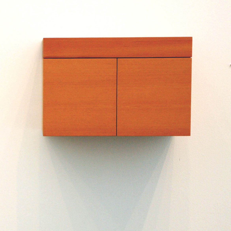 Orange cube wall storage unit.