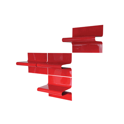 Red shelving units.