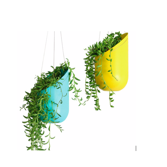 Blue and Yellow hanging planters by Wallter.