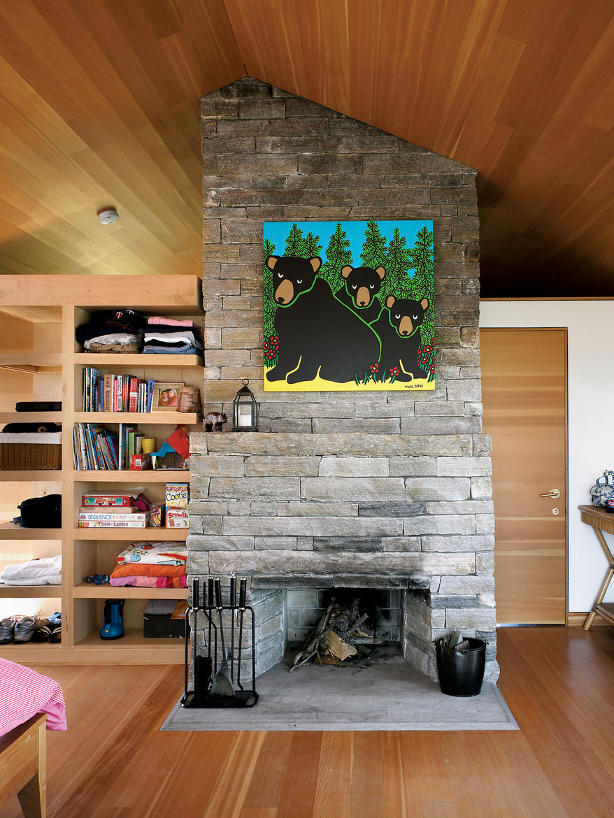 Fireplace built with local granite