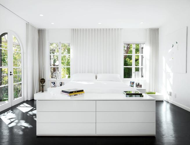 Modern all-white master bedroom
