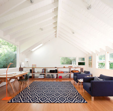 Modern living room with traditional white beamed ceiling