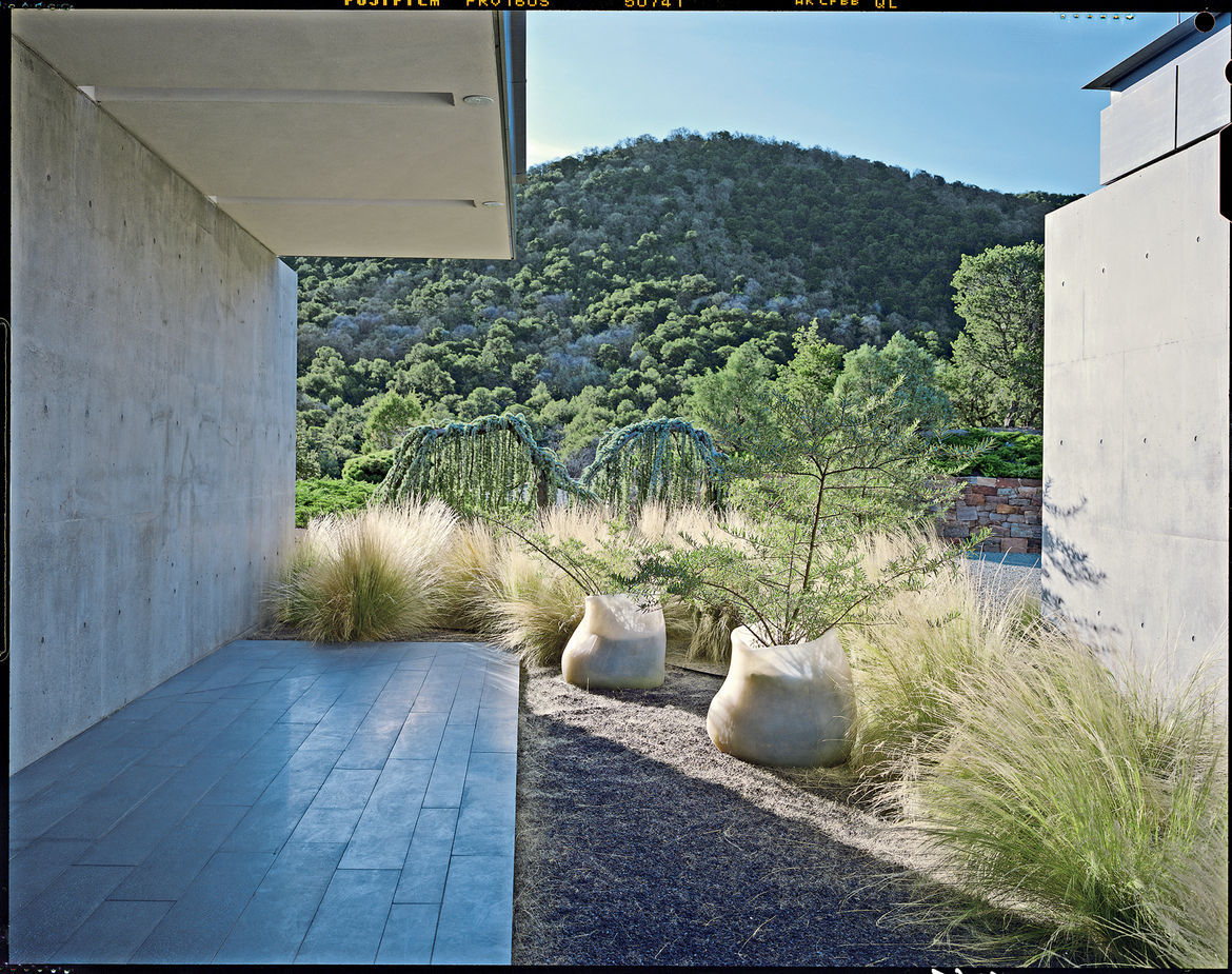 """The landscape Hayes conceived for a private garden in Santa Fe, New Mexico, exploits the desert landscape with drought-tolerant planting. """"Walking in the Santa Fe hills is psychedelic. It's a desert, and there's all this rock and lichen. The people who li"""