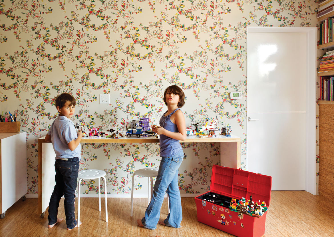 Modern children's playroom with Daks wallpaper