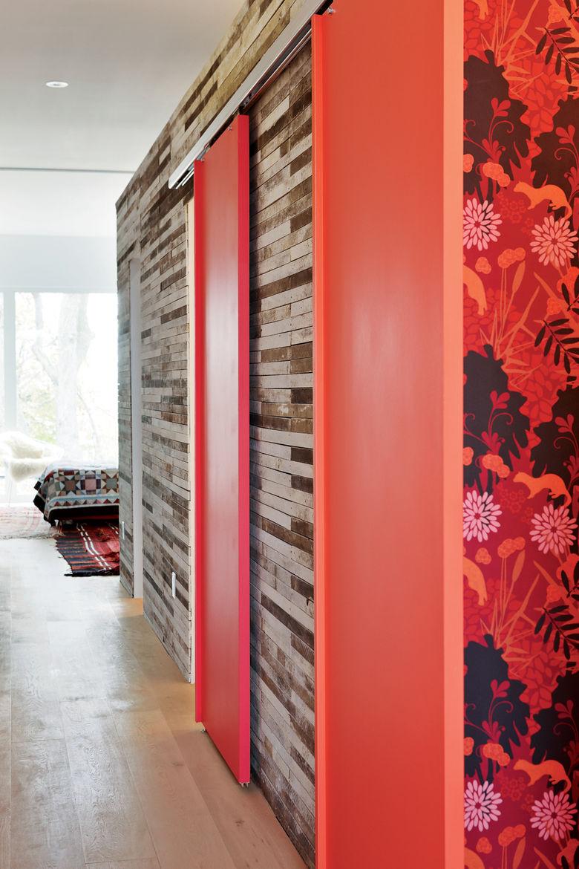 Maira wallpapered guest bathroom