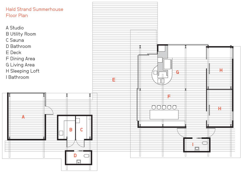 Hald Strand Summerhouse floor plan.