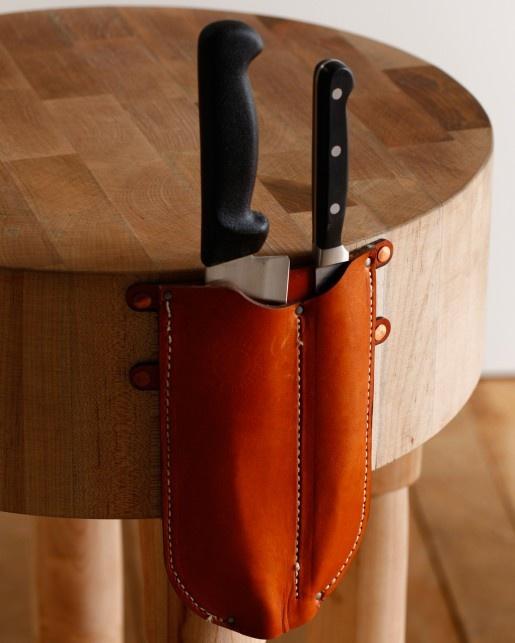 butcher block knife detail