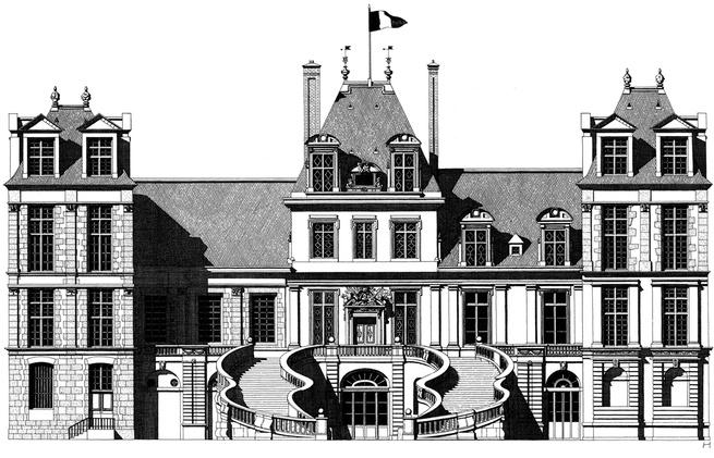 Fontainebleau castle illustration by Thibaud Herem