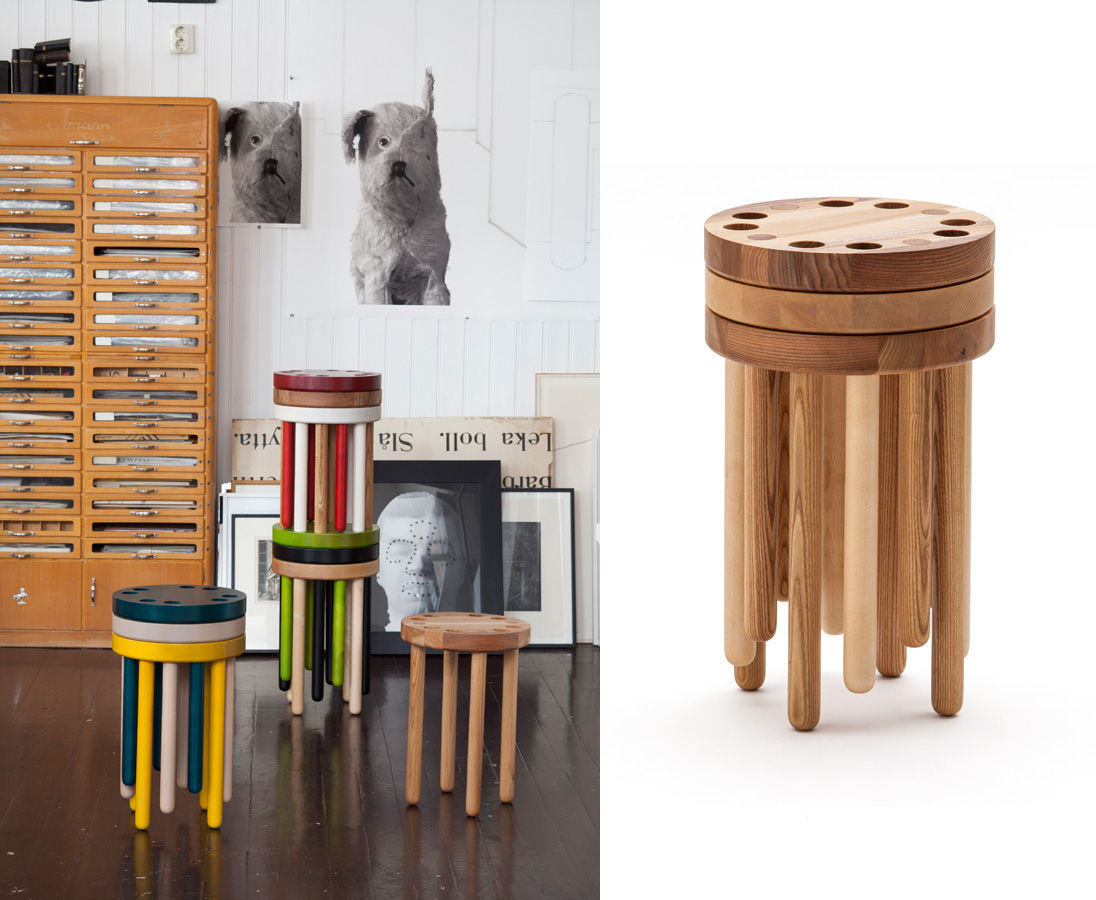 Painted wood Poke stools by Kyuhyung Cho at Rossana Orlandi exhibition in Milan.