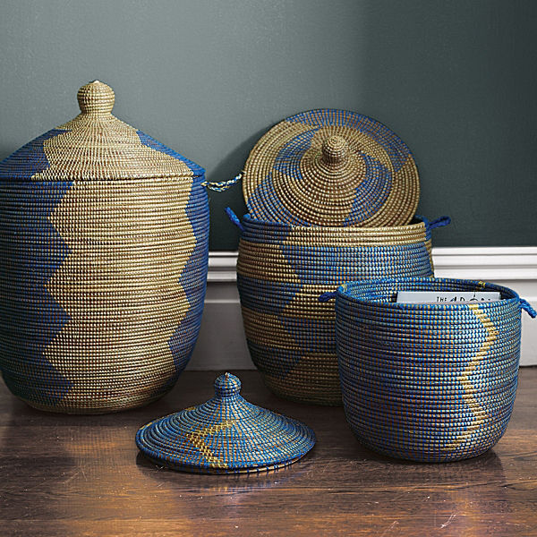 For a modern baby's room, consider Serena & Lily blue woven baskets from Senegal as a storage option.
