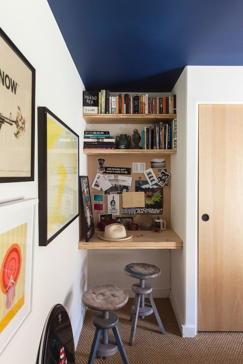 small space malibu trailer bedroom built-in office