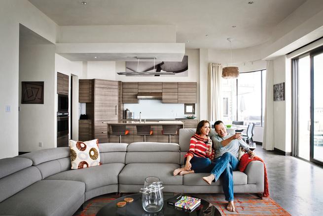 Bryan Cranston on Laguna Sofa with his wife.