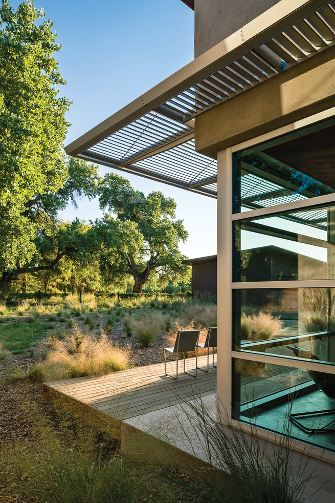 Glass and cement deck.
