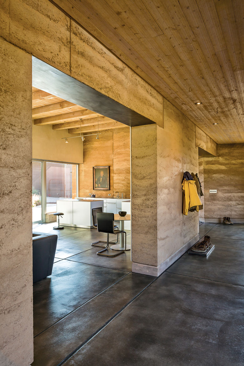 Rammed-earth home interior.
