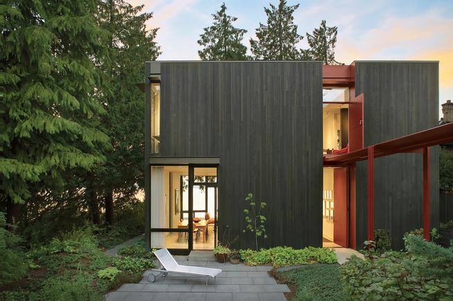 Cedar clad home in Seattle.