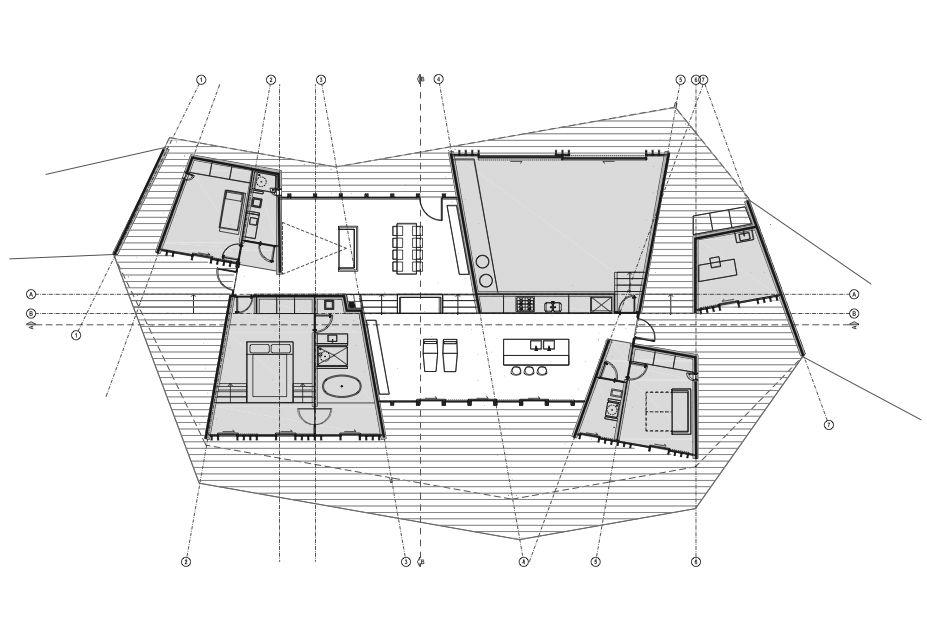 Clifftop house floor plan.