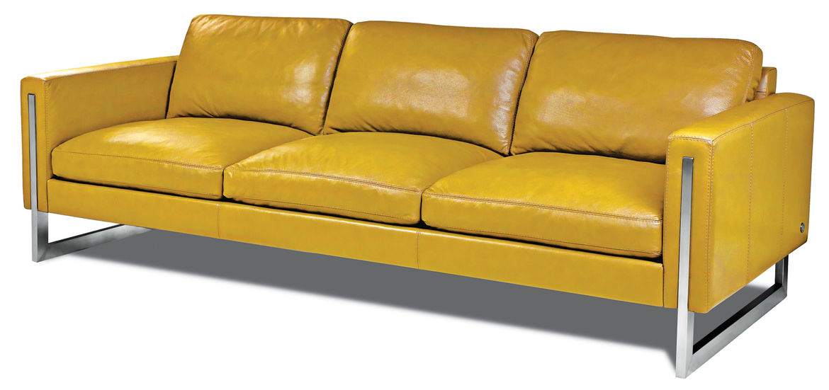 Savino leather sofa in Bison Marigold by American Leather