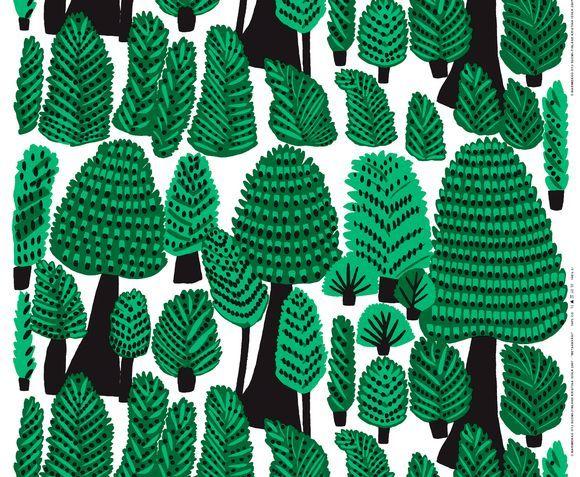 Metsanvaki Forest Folk textile pattern by Kristina Isola for Marimekko
