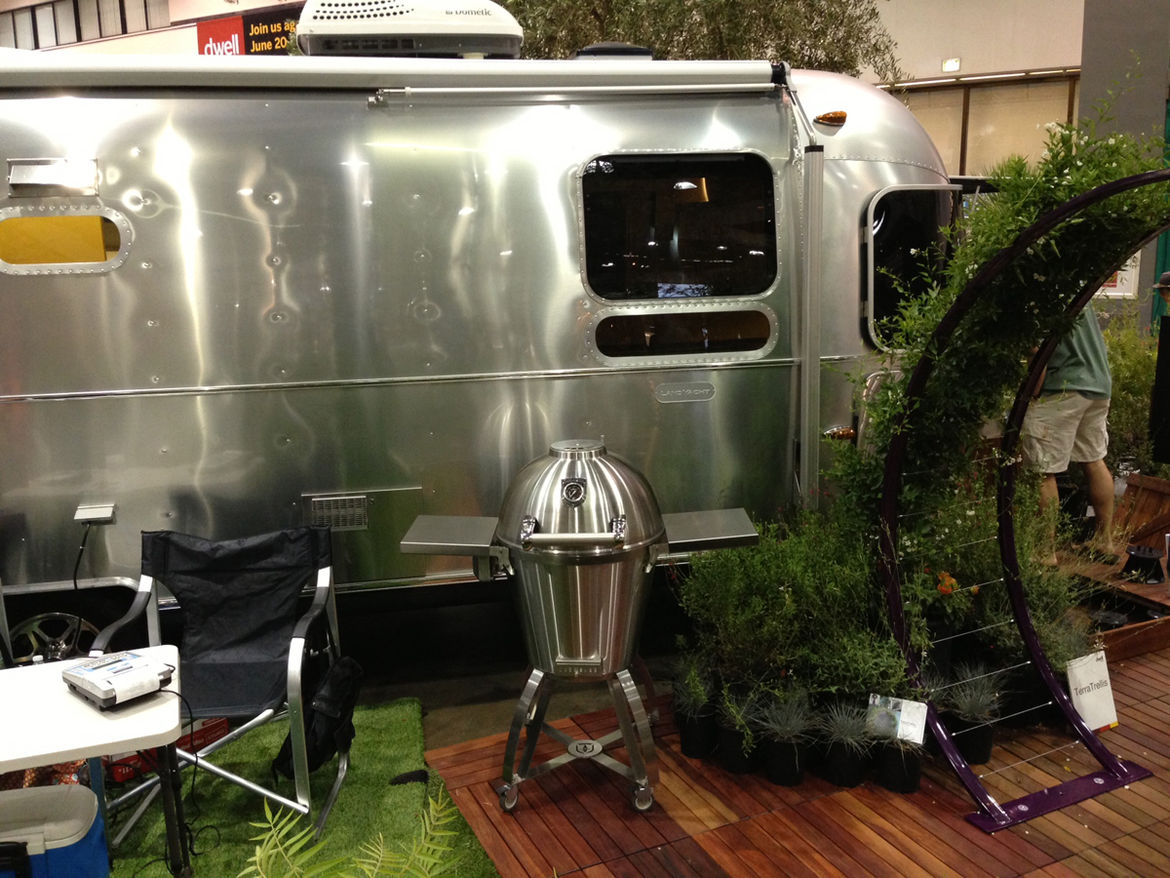 Airstream LandYacht RV and Caliber stainless steel charcoal grill at Dwell on Design Outdoor