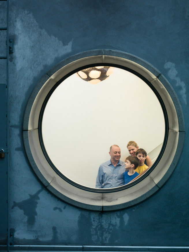 Circular window in the Tribeca loft renovated by Pulltab Design for James Marcovitz and Jennifer Geiger.