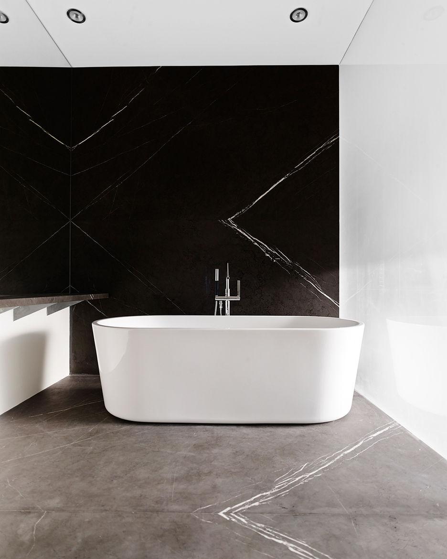 Marble bathroom, tub by Blu Bathworks