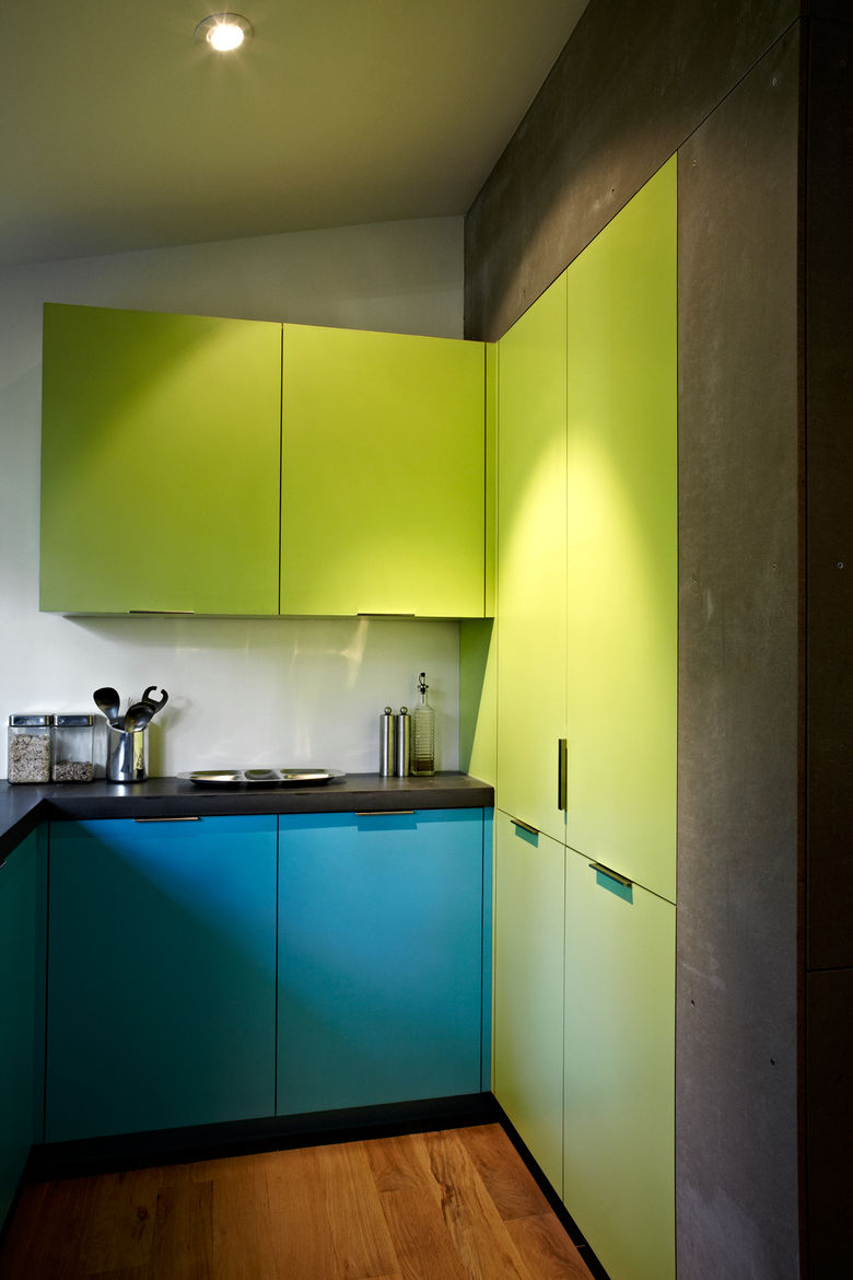 Modern neon green and blue kitchen cabinets