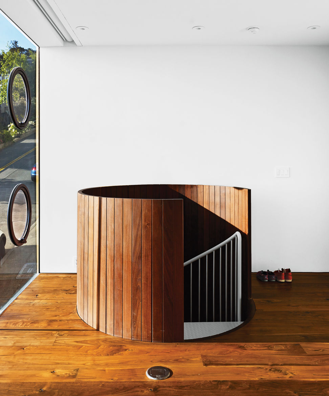 Modern wood-clad spiral staircase