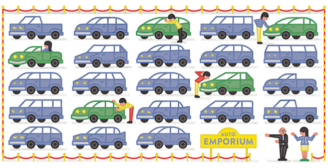 Green car illustration by Michael Jeter
