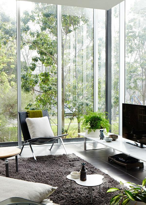 living room with gray shag rug